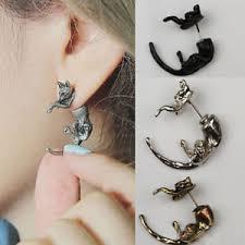 cool ear studs 1 pc ear piercing earrings cat ear studs animal black bronze