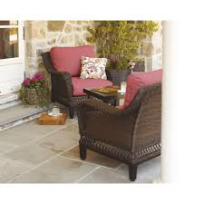 Patio Chairs With Cushions Hampton Bay Woodbury 3 Piece Patio Seating Set With Chili Cushion