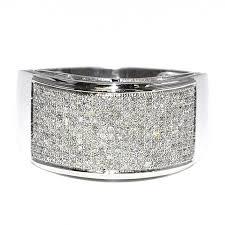 10k white gold wedding band wedding band mens 0 65ct 12mm wide rounded pave set diamonds 10k
