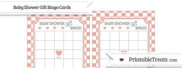 baby shower gift bingo pastel coral checker pattern baby shower gift bingo cards
