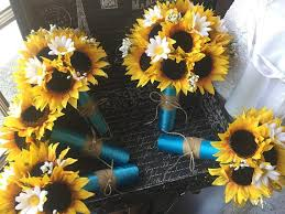 silk sunflowers 17 silk sunflower rustic wedding bouquet flower set with
