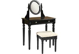 Vanity Table And Stool Set Loraine Black Vanity Mirror And Stool Set Accent Pieces Colors