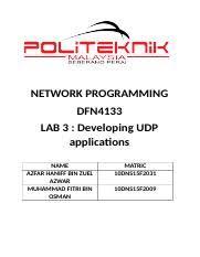 lab 3 udp docx network programming dfn4133 lab 3 developing udp