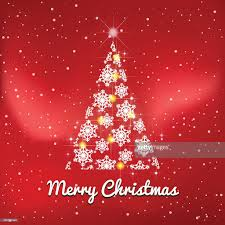winter and merry xmas christmas tree red background with snow