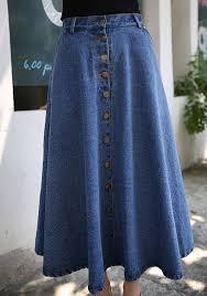 denim maxi skirt light blue plain pleated button pocket high waist denim jean