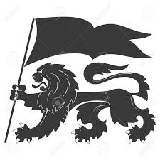 Lion Flag Black Heraldic Lion With Flag Royalty Free Cliparts Vectors And