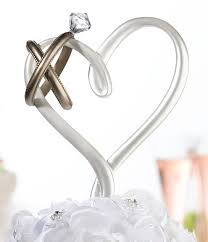 heart cake topper heart with rings wedding cake topper wedding cake toppers