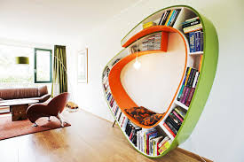 astonishing floating open wooden bookcase design with craft basket