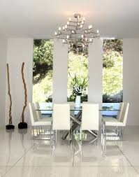 White Fabric Dining Chairs Colorful Modern Dining Room Black Glass Top Rectangle Dining Table