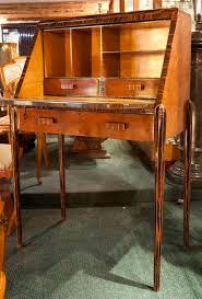 art deco drop down front secretary desk with marquetry inlay