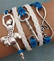 leather charm bracelet ebay images New infinity ballet girl key antique silver leather charm bracelet jpg