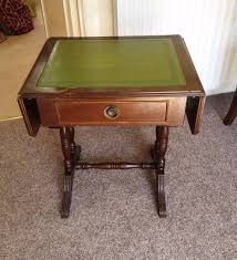 leather top side table dark wood folding card table side table with green leather top