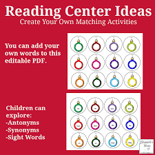 reading center activities create your own matching activities