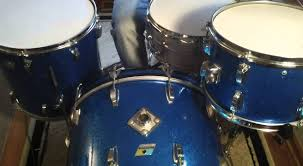 ludwig 1971 3ply 13x9 16x16 14x22 blue sparkle 3 ply vintage