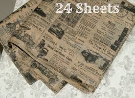 newspaper wrapping paper kraft newsprint tissue wrap 24 sheets vintage look 15
