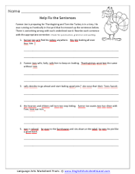 thanksgiving language arts worksheets