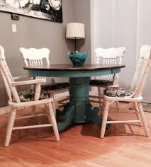 Painted Kitchen Tables And Chairs by Refurbished Oak Kitchen Table With Teal And Fresh White My Diy