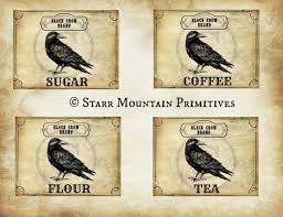 primitive kitchen black crow brand coffee sugar tea flour jpeg