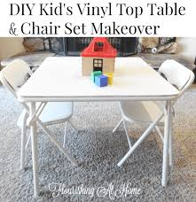 Kids Table And Chair Set - diy kids vinyl top table u0026 chair set makeover u2013 at home with zan