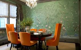 dining room orange floral fabric curtain with white leather