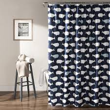 com lush decor whale shower curtain 72 x 72 navy home kitchen