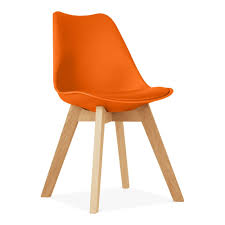 orange dining chair with solid oak crossed wood legs cult furniture