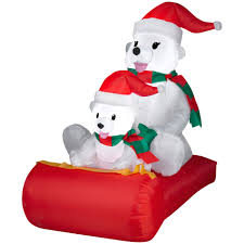 Lighted Polar Bear Christmas Decorations by Polar Bears On Sled Airblown Christmas Decoration