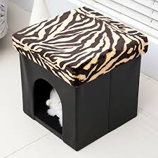 homcom pvc folding pet storage ottoman foldable cat dog house