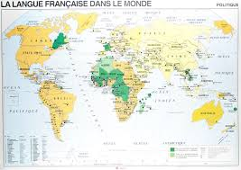 Map Of The World Countries French Wall Maps La Langue French Speaking Countries Of World