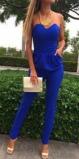 royal blue jumpsuit blue plain bandeau pockets jumpsuit jumpsuit
