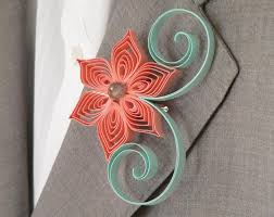 Coral Boutonniere Mint Green Coral Flower Boutonniere Groomsmen Gift Coral And