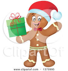 clipart of a happy gingerbread man cookie waving royalty free