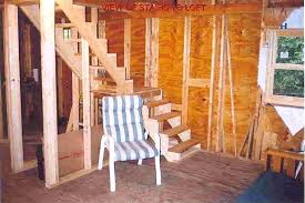 16x24 post and pier cabin stair jpg