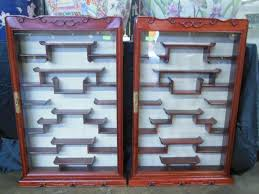Curio Cabinets Pair Chinese Wall Curio Cabinets
