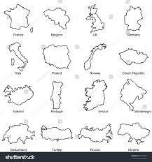 Blank Map Britain by Set European Countries Maps Outline Vector Stock Vector 649109980