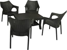 plastic table with chairs royal rattan design premium coffee table set black 1 4 homegenic