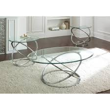 Silver Dining Room Set by Steve Silver Orion Oval Chrome And Glass Coffee Table Set