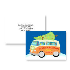 10 personalised christmas cards fun campervan with tree theme