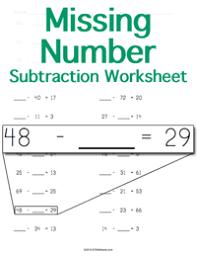 missing number worksheet
