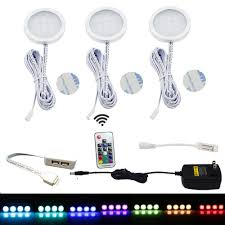 under cabinet led puck lights rgb color changing led under cabinet lights pack of 3 aiboo