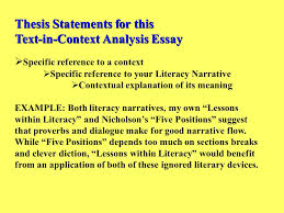 examples of a thesis statement for a narrative essay into the wild