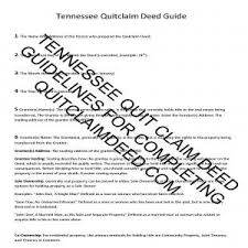 guidelines for filling in a tennessee quit claim deed form example
