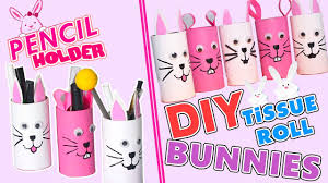 3 minute crafts how to make toilet paper roll bunny holder diy