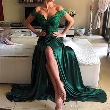 2017 emerald green split prom dresses off shoulder a line