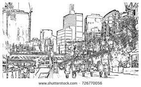 watercolor sketch darling harbour sydney australia stock vector