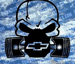 chevy skull with pistons decal dumbdecals com