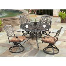 Swivel Patio Dining Chairs Home Styles Floral Blossom 42 In 5 Swivel Patio