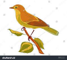 vector sketch bird on tree branch stock vector 87023834 shutterstock