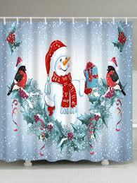 Snowman Shower Curtain Target by Christmas Snowman Birds Print Waterproof Fabric Shower Curtain