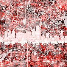 Dallas Map by Dallas Skyline Map Red 2 Painting By Bekim Art